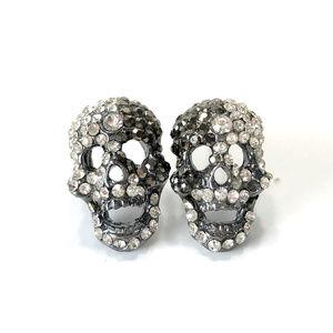 Skull Crystal Stud Pierced Earrings
